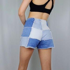 Y2k era patchwork denim shorts